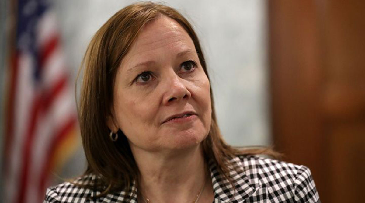 GM CEO Mary Barra talks with reporters following a meeting with lawmakers at the U.S. Capitol in June 2019.
