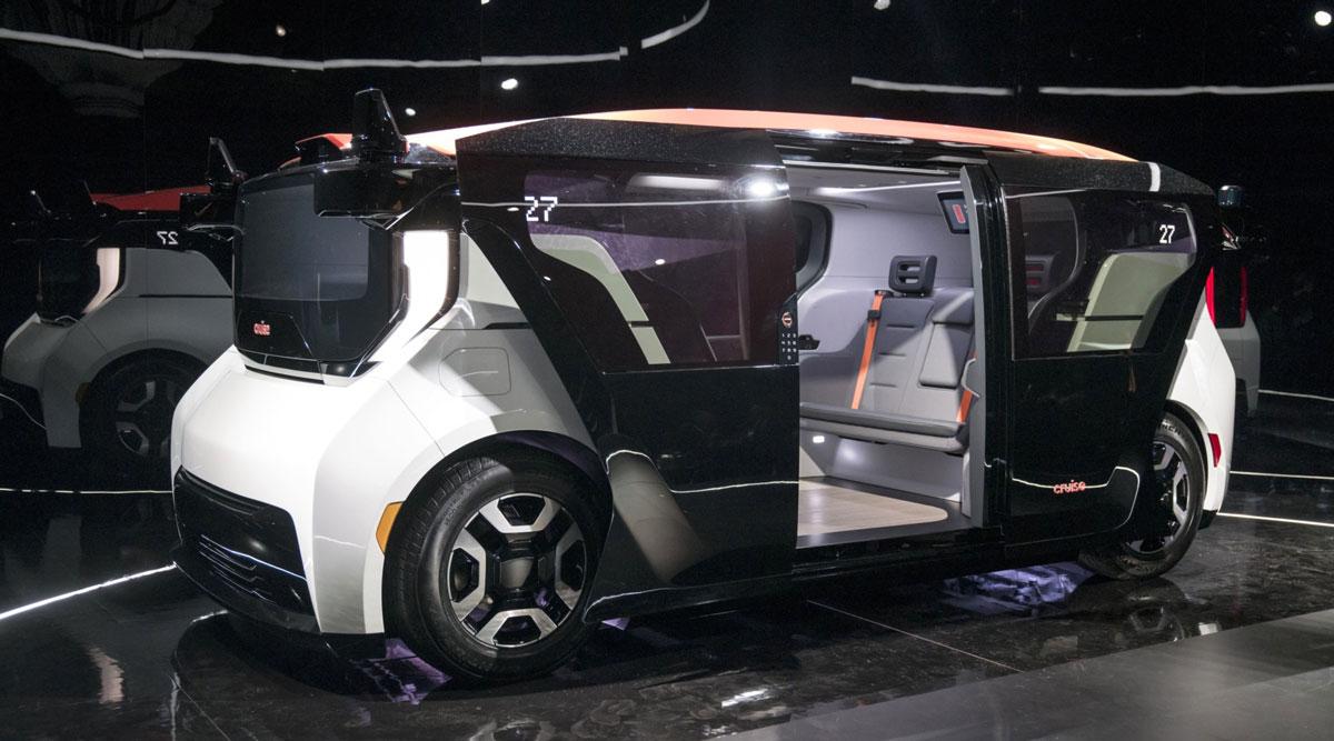 GM's Cruise Origin electric driverless shuttle. (David Paul Morris/Bloomberg News)