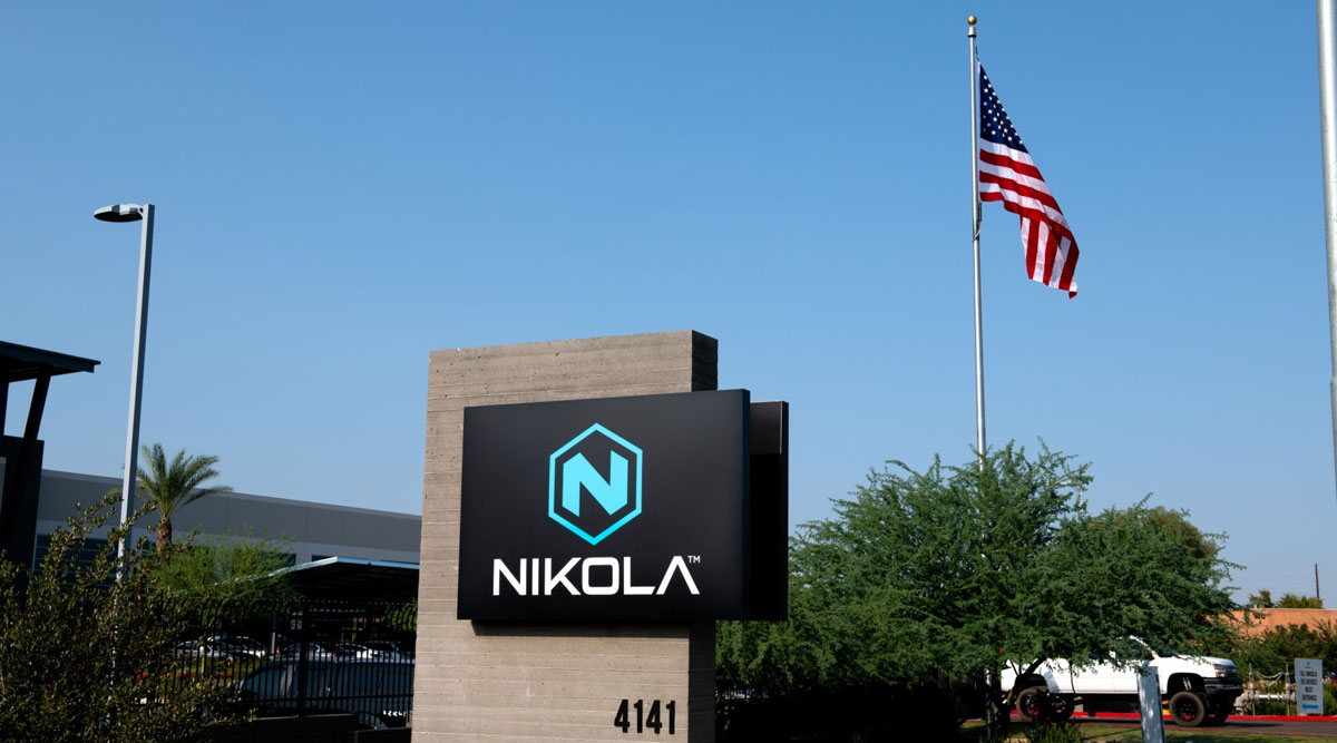 Signage is displayed out the Nikola headquarters in Phoenix, Ariz.