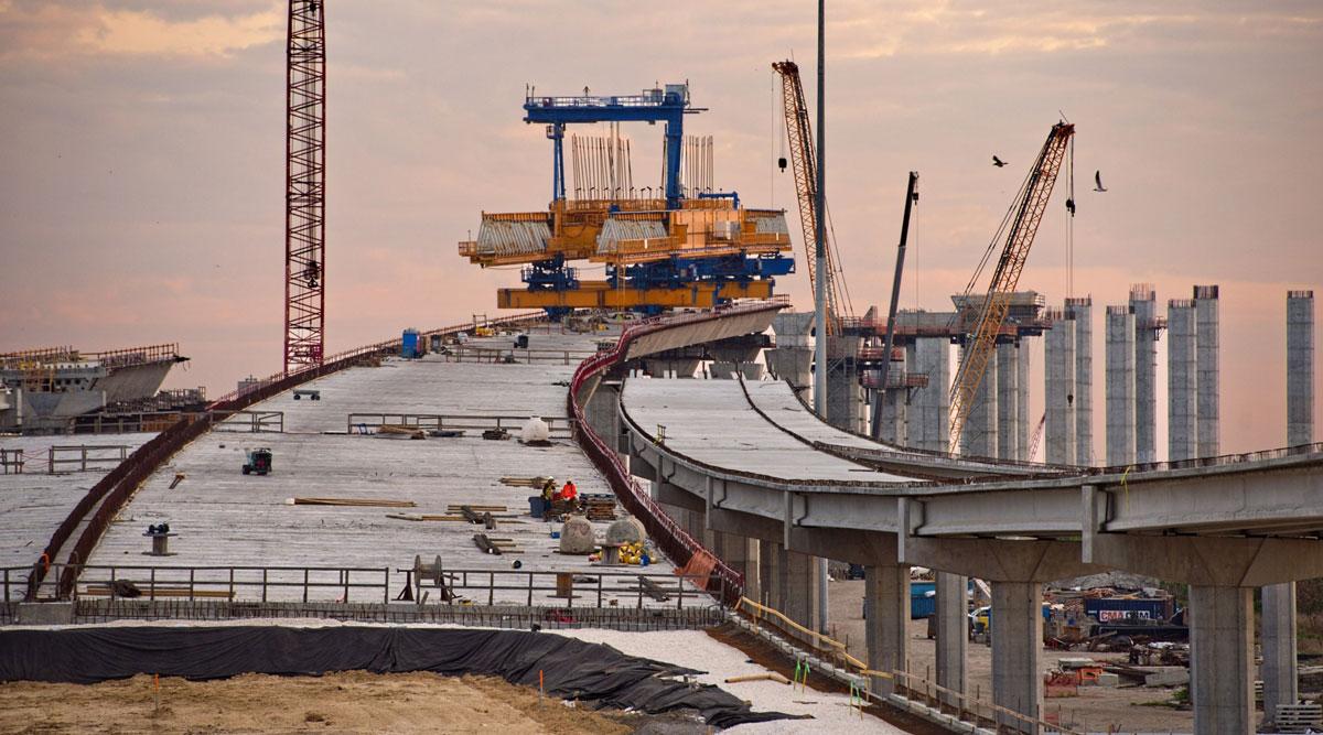 Construction on the Corpus Christi Harbor Bridge in Texas is photographed on April 2. (Eddie Seal/Bloomberg News)