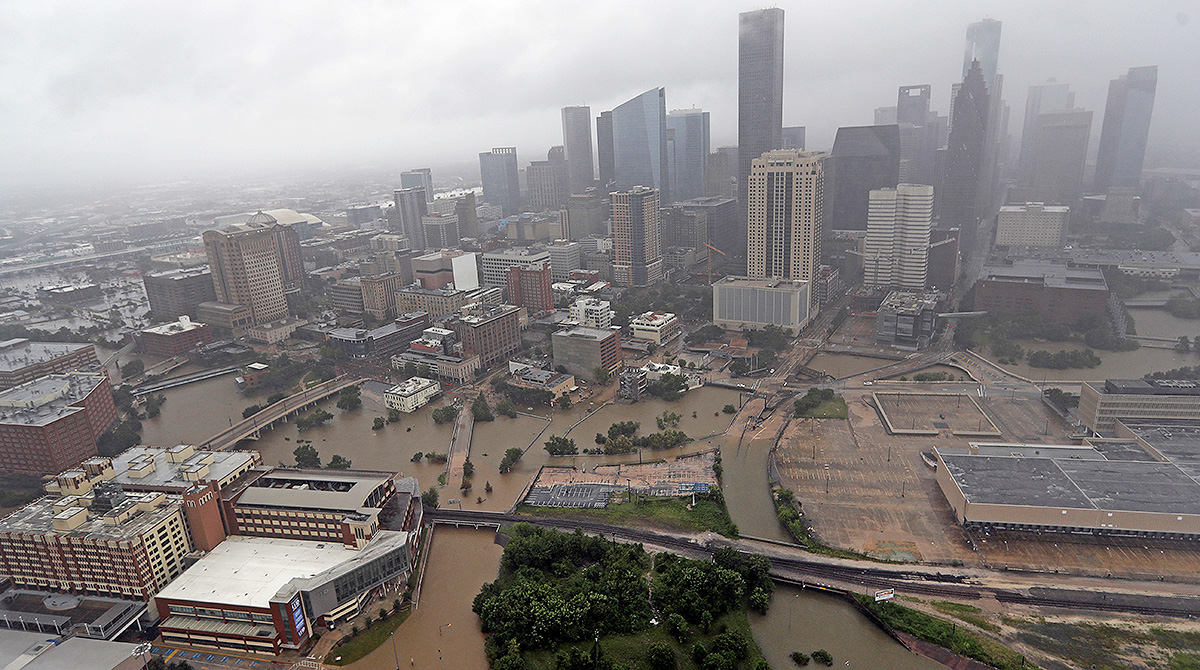 Aerial of Houston after Harvey