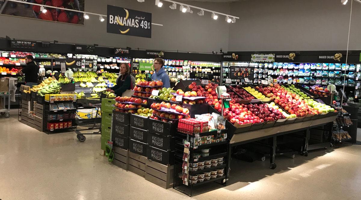Patrons in the produce section of a Giant Food Stores in Bethlehem Township, Pa., on March 18.
