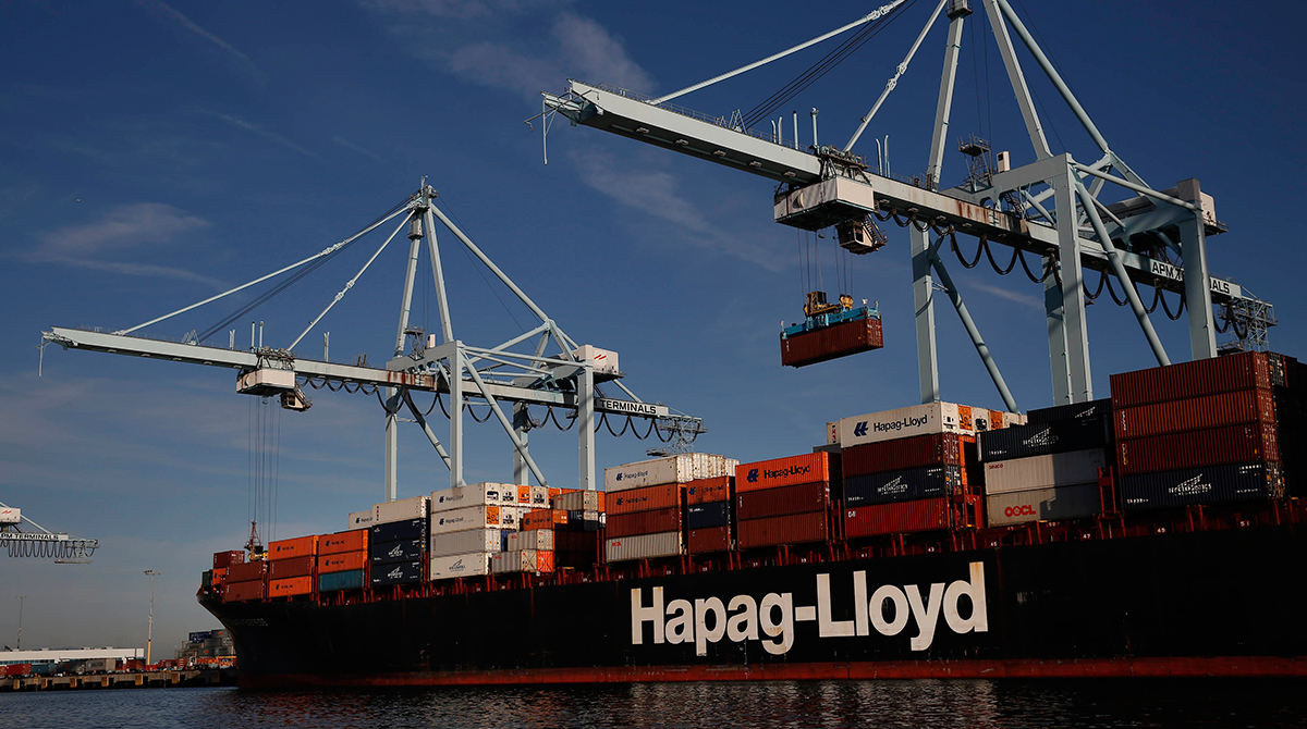 Hapag-Lloyd ship at Port of Los Angeles
