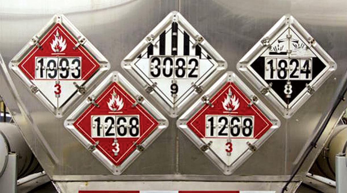 Hazmat symbols on a truck