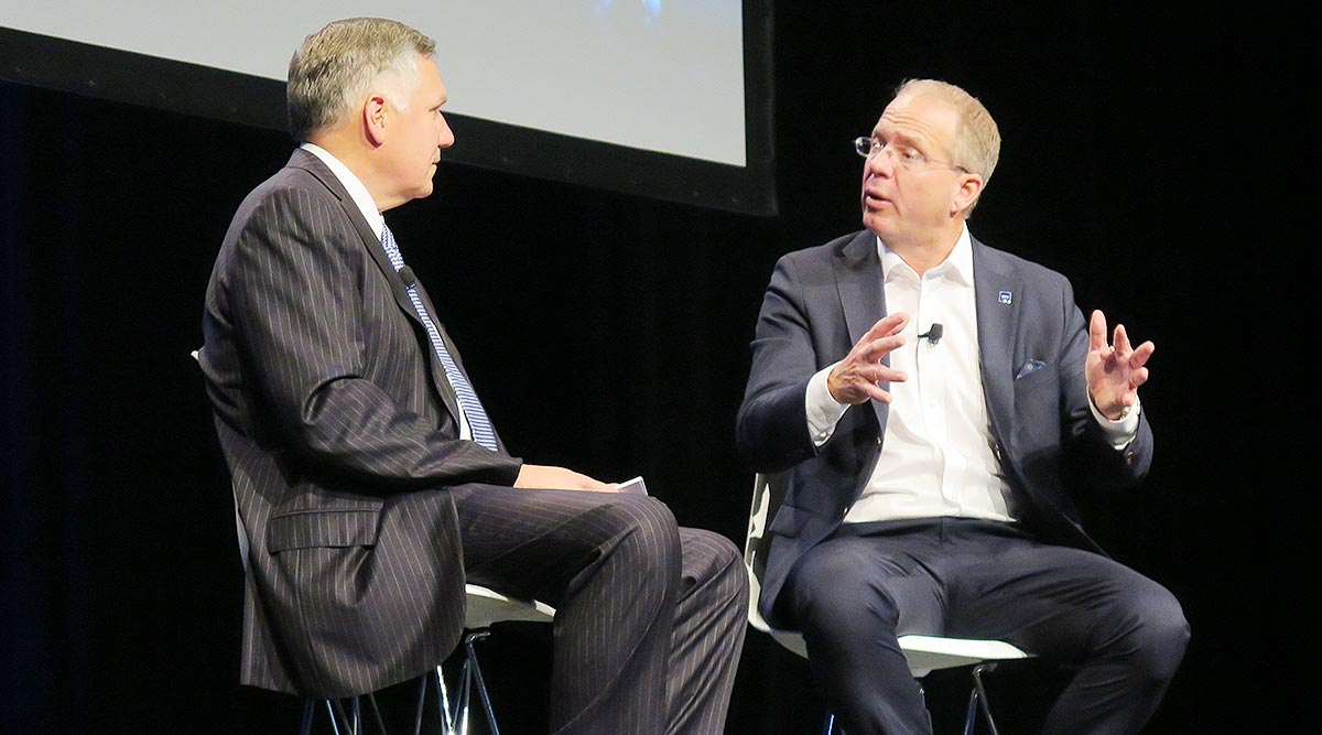 Meritor CEO Jay Craig (left) interviews Volvo CEO Martin Lundstedt