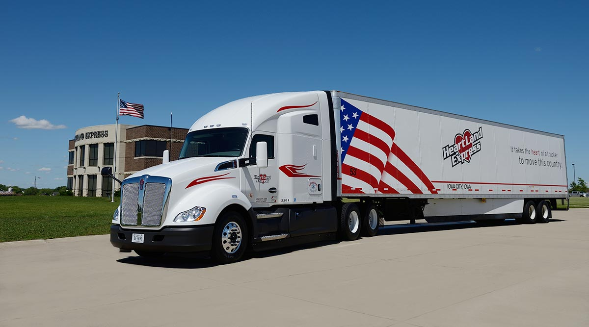 A Heartland Express truck outside its headquarters