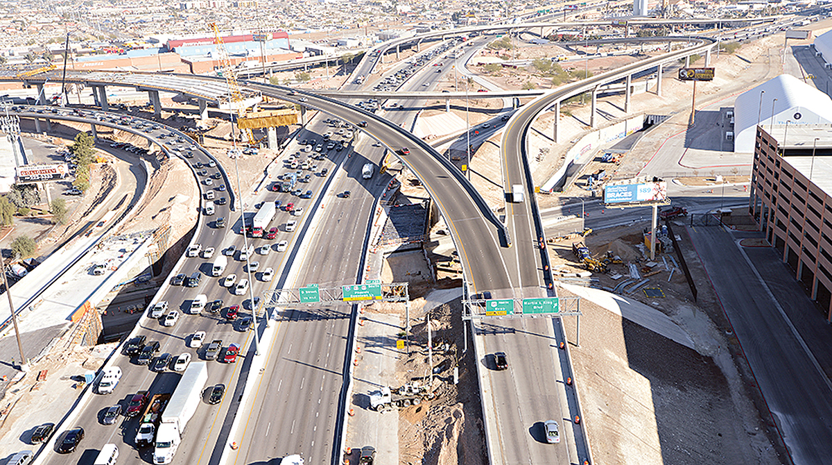 "The ""Spaghetti Bowl"" interchange near downtown Las Vegas"