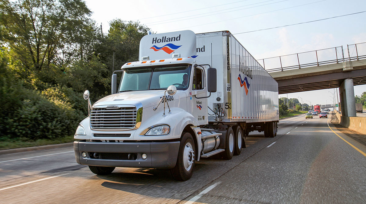 Holland truck on the road