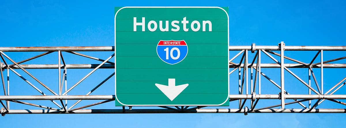 Interstate 10 sign near Houston