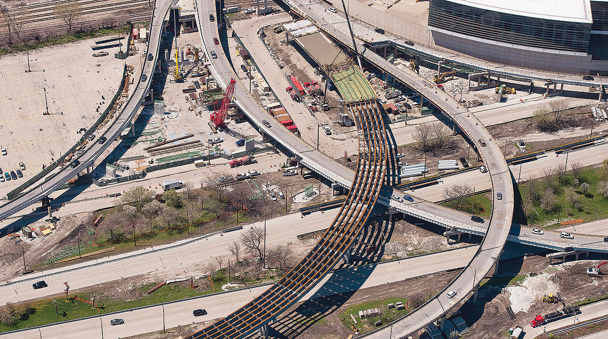 Illinois I-55 and Lake Shore Drive interchange