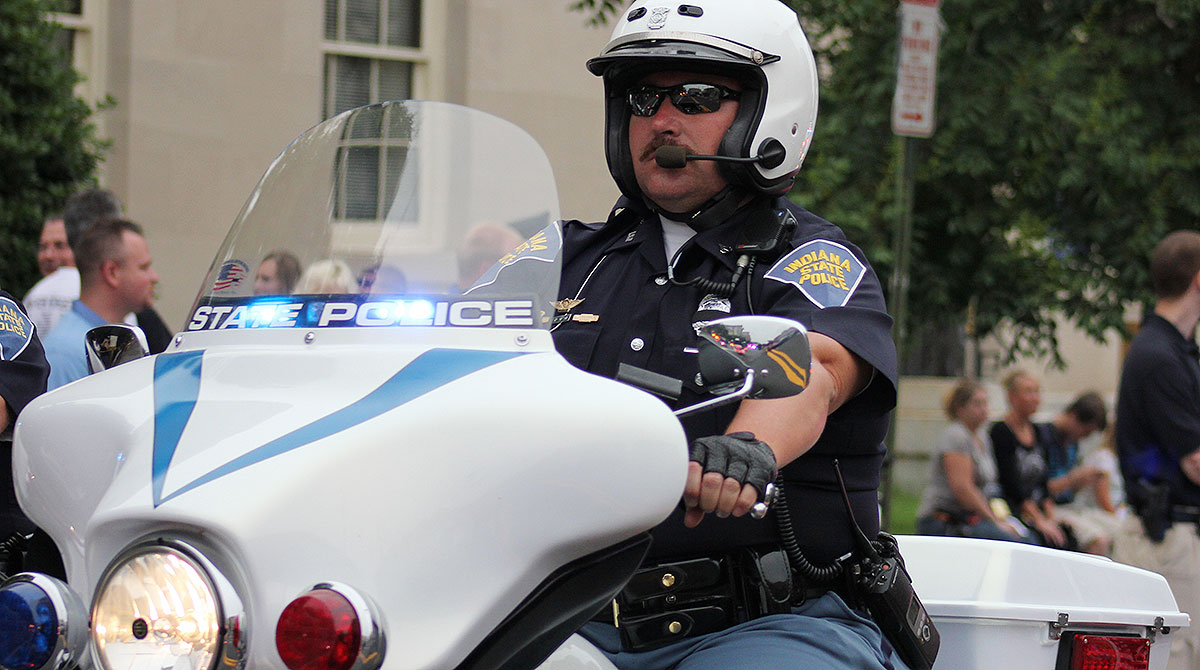 Indiana State Police officer on motorcycle