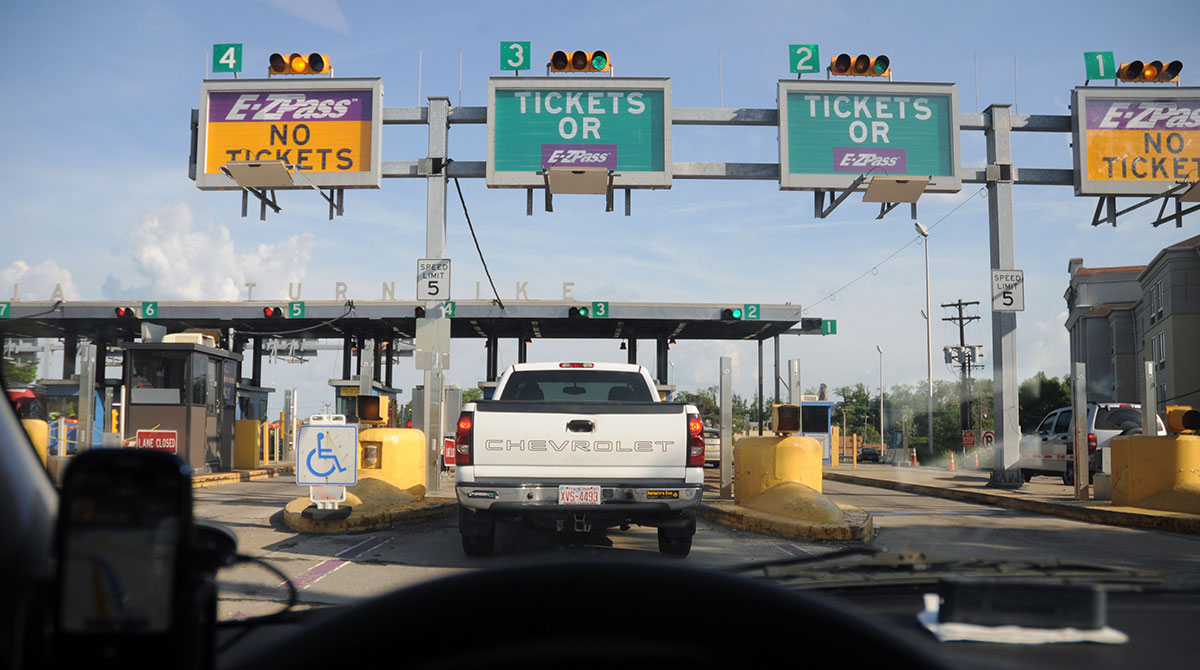 Toll gate on the Pennsylvania Turnpike