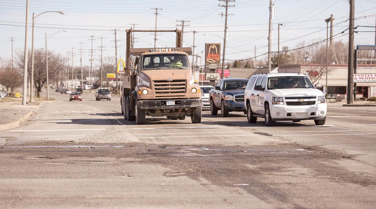 Road in need of repair in Michigan
