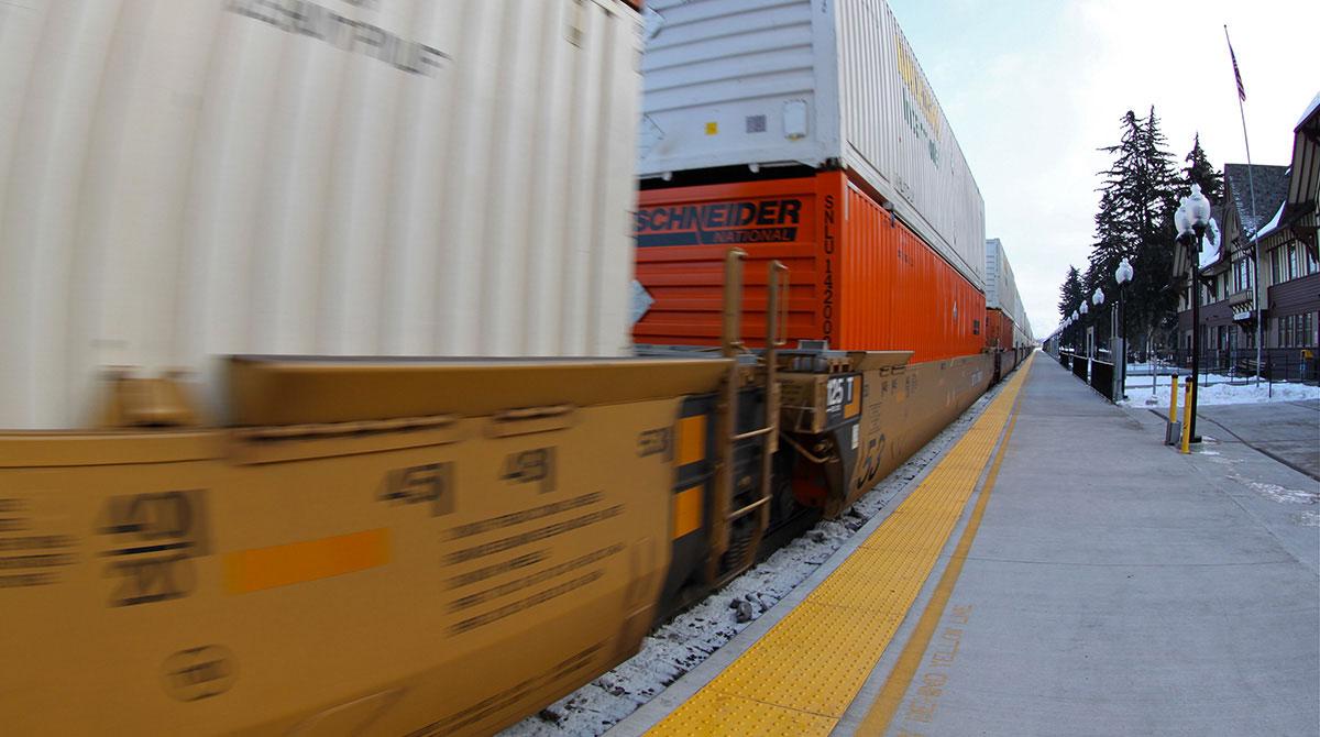 Intermodal train in Montana