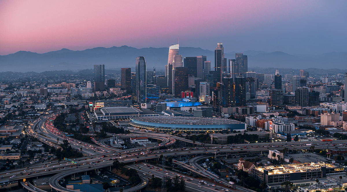 View of Los Angeles at dusk