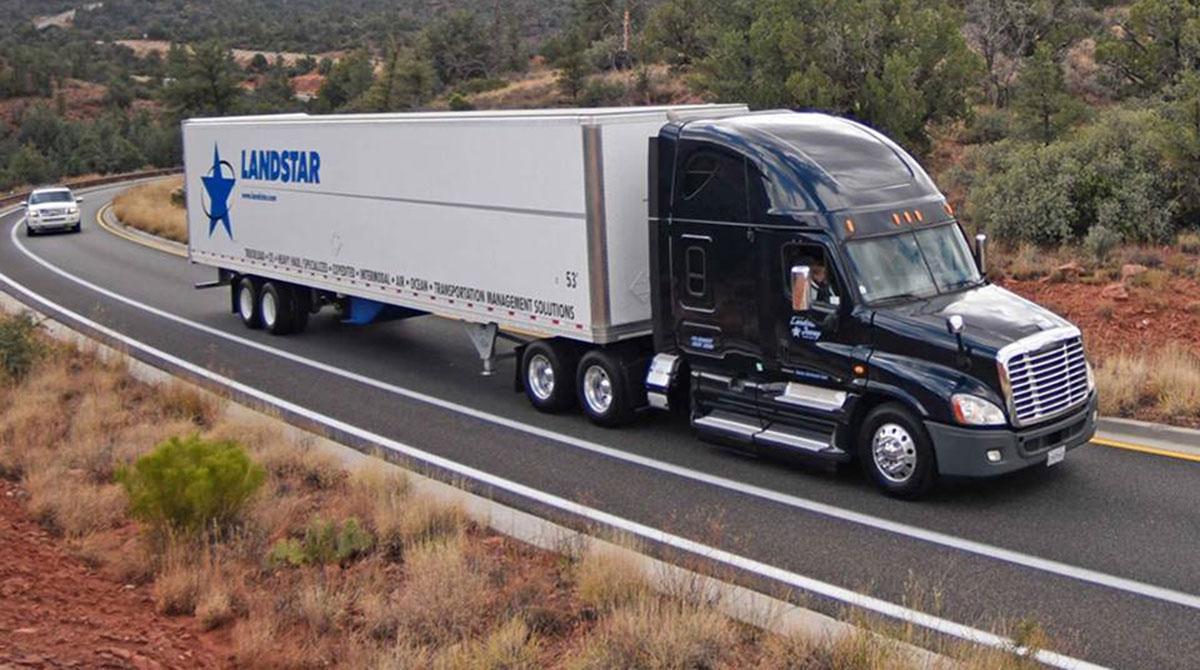 Landstar truck on highway