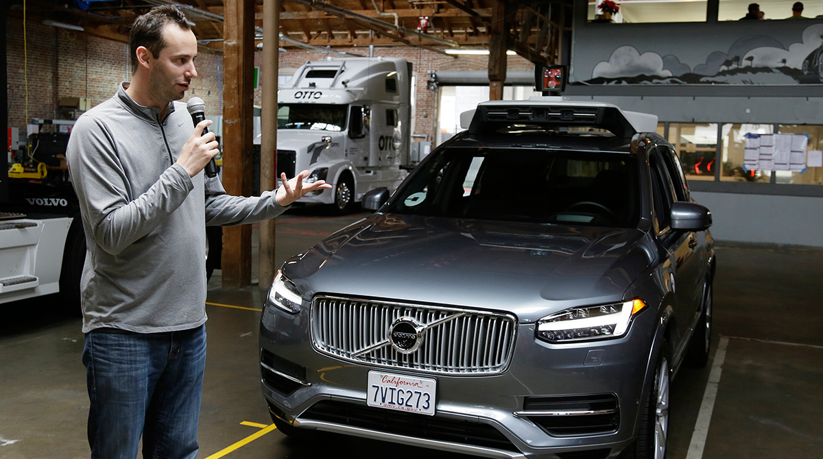 Levandowski, while he was still head of Uber's self-driving program