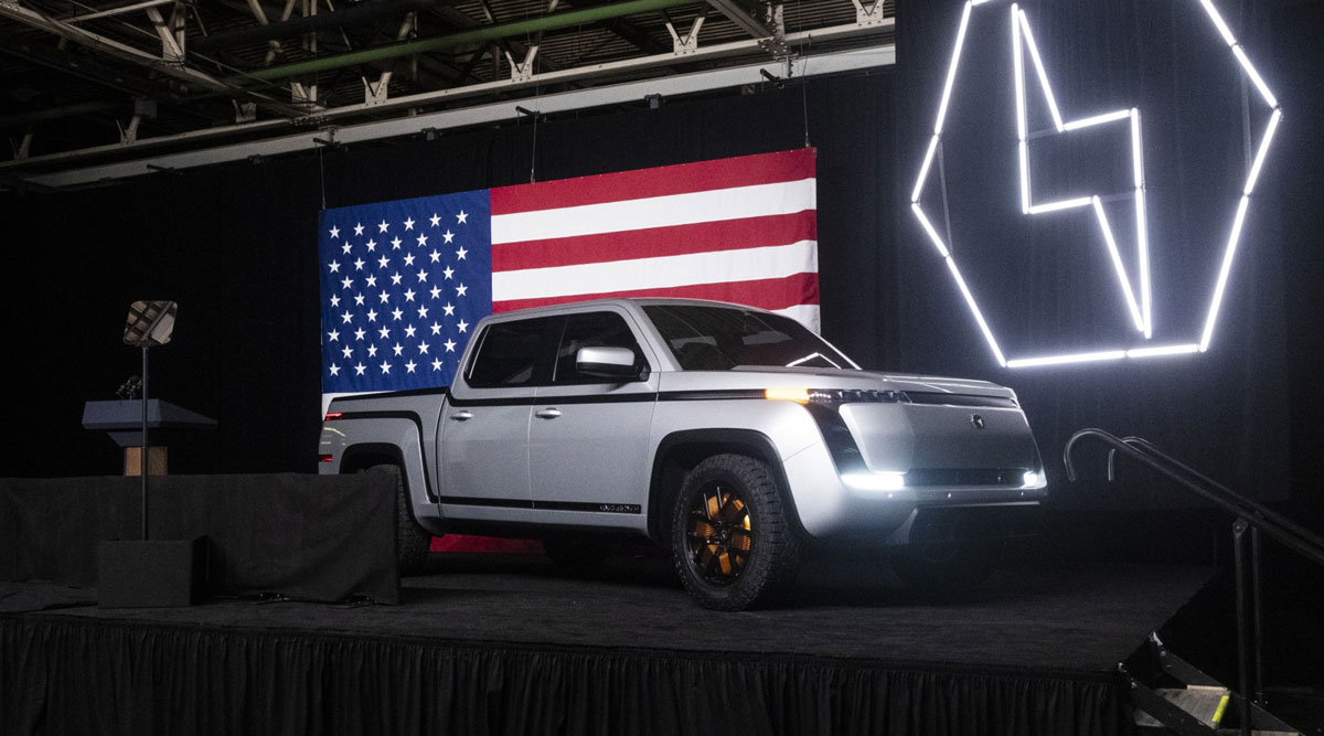 The Lordstown Motors Endurance electric pickup sits on stage during an unveiling event in June 2020.