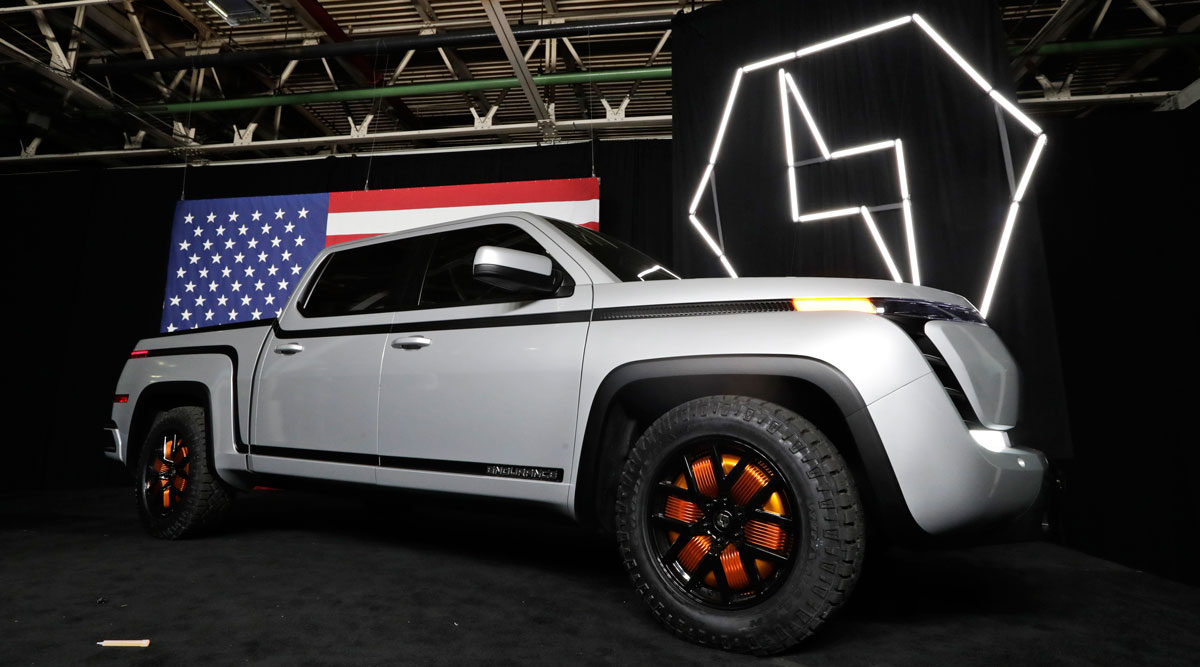 The Lordstown Endurance electric pickup truck is displayed in Lordstown, Ohio. (Tony Dejak/Associated Press)