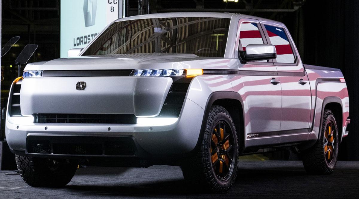 The Lordstown Motors Endurance electric pickup truck. (Matthew Hatcher/Bloomberg News)