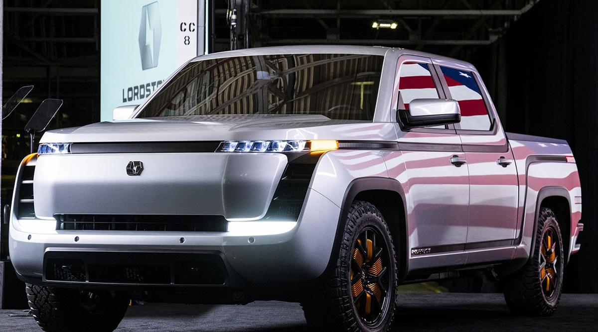 The Lordstown Endurance electric pickup truck. (Matthew Hatcher/Bloomberg News)