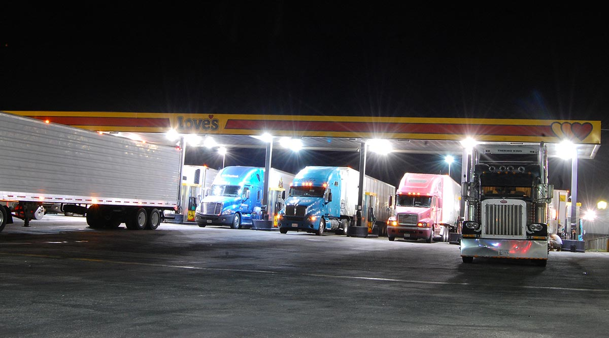 Trucks fuel at a Love's truck stop