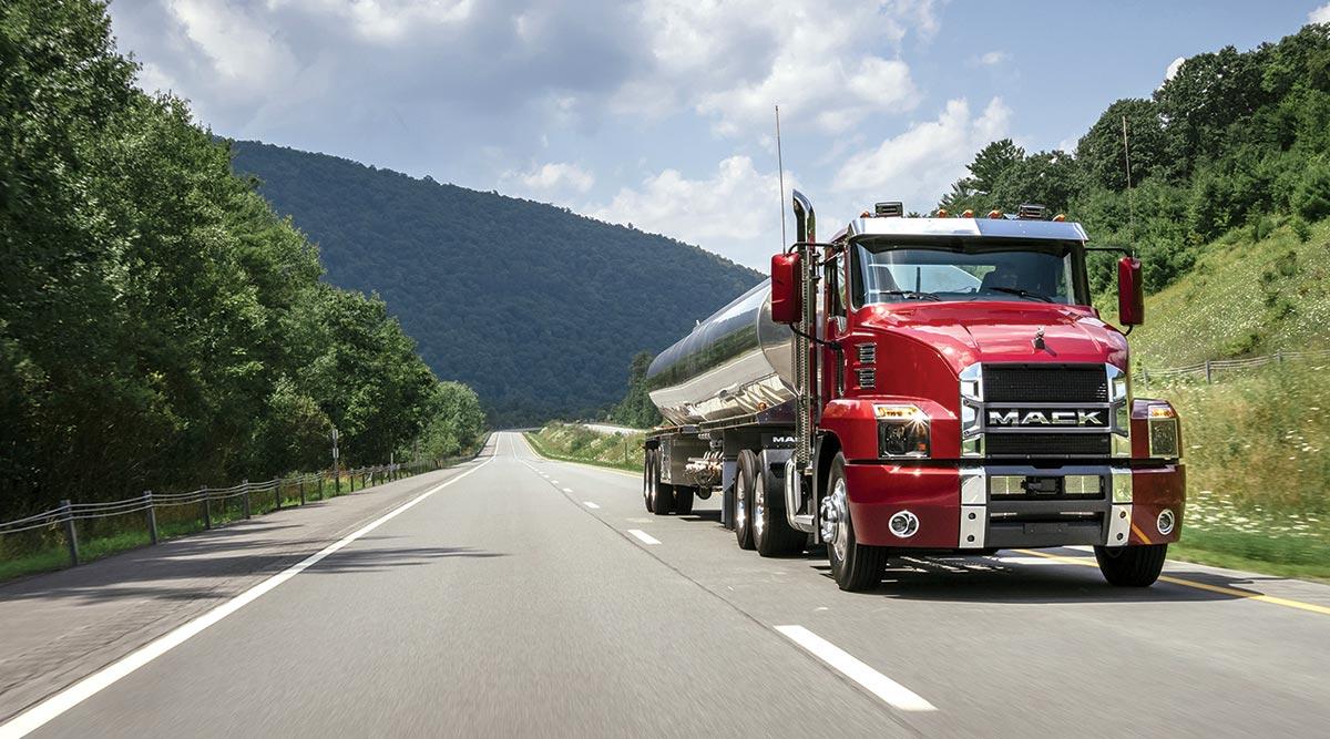 A Mack truck tanker on a highway. (Mack Trucks)