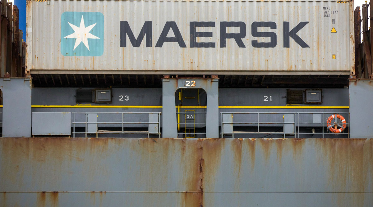 An A.P. Moller-Maersk A/S shipping container sits aboard a ship in Felixstowe, U.K., in March 2019.