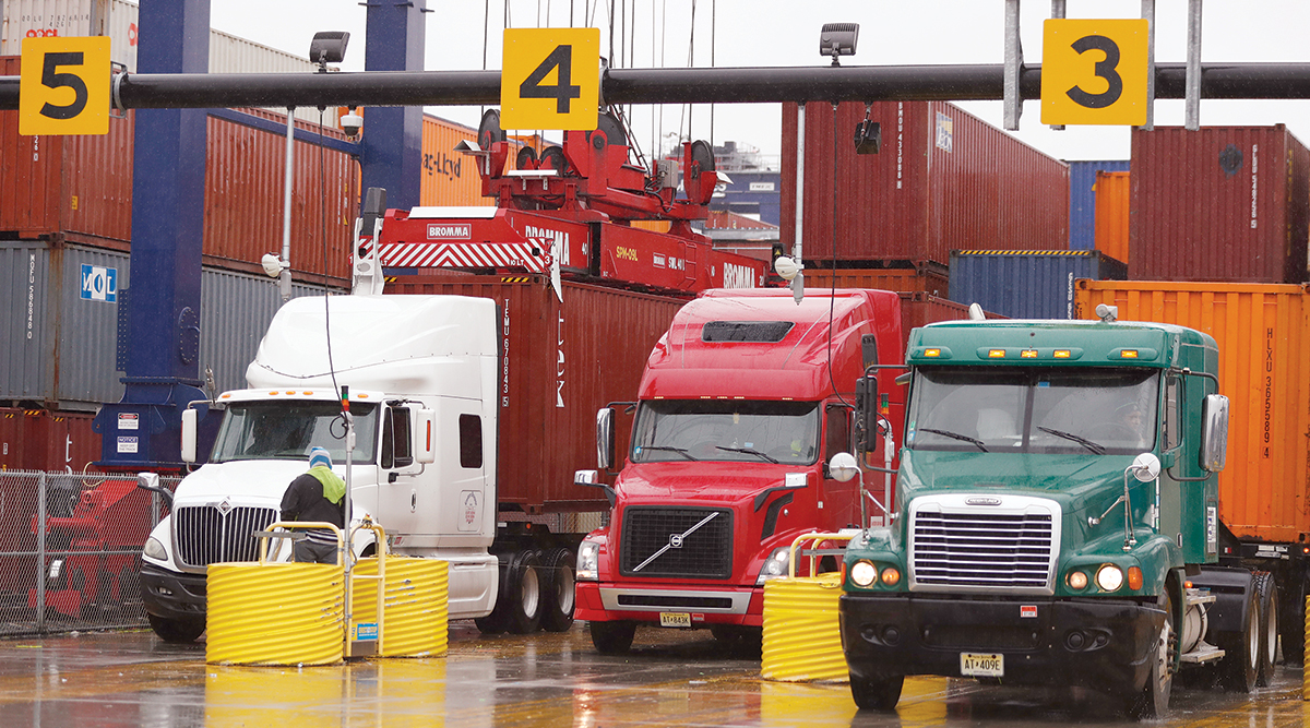 Trucks at Global Container Terminals in Jersey City, N.J.
