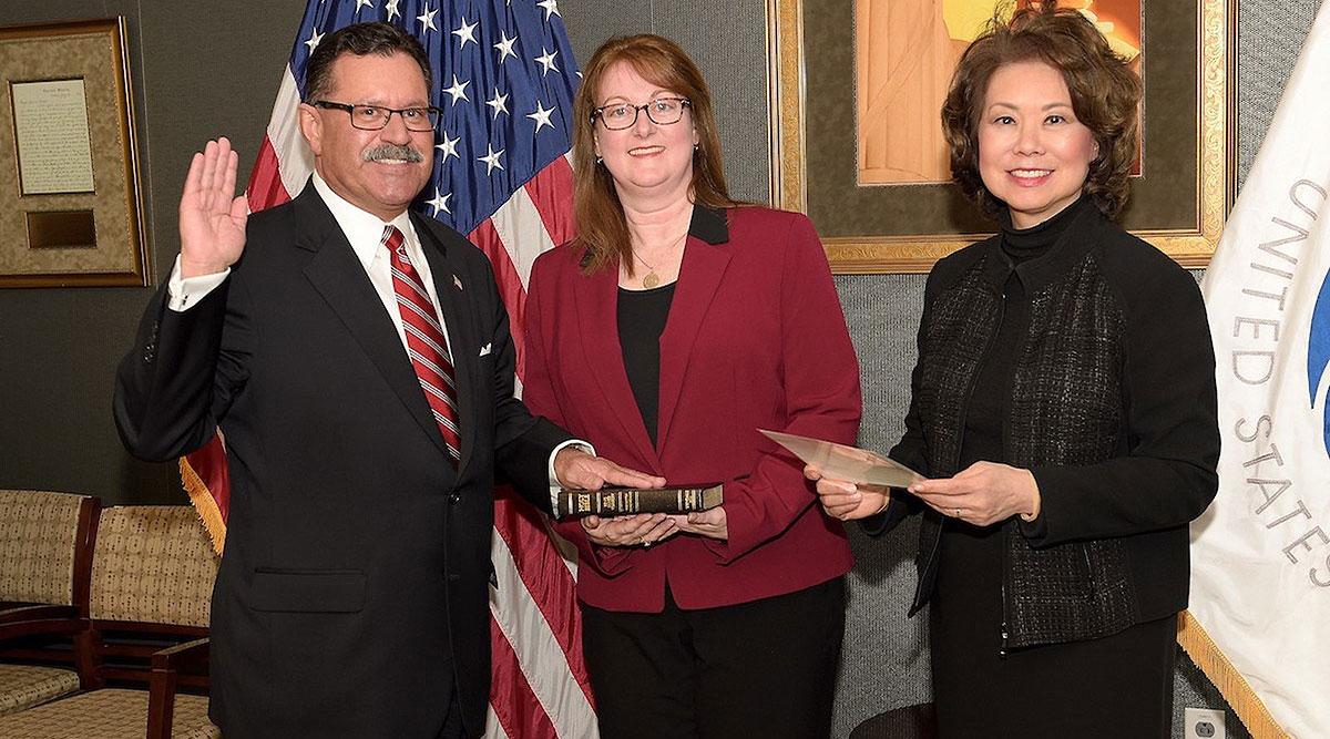 Ray Martinez, wife Marin Gibson and Secretary Elaine Chao
