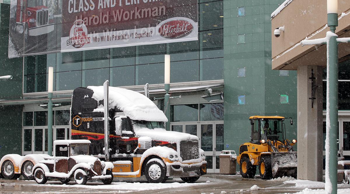 Snow-covered trucks