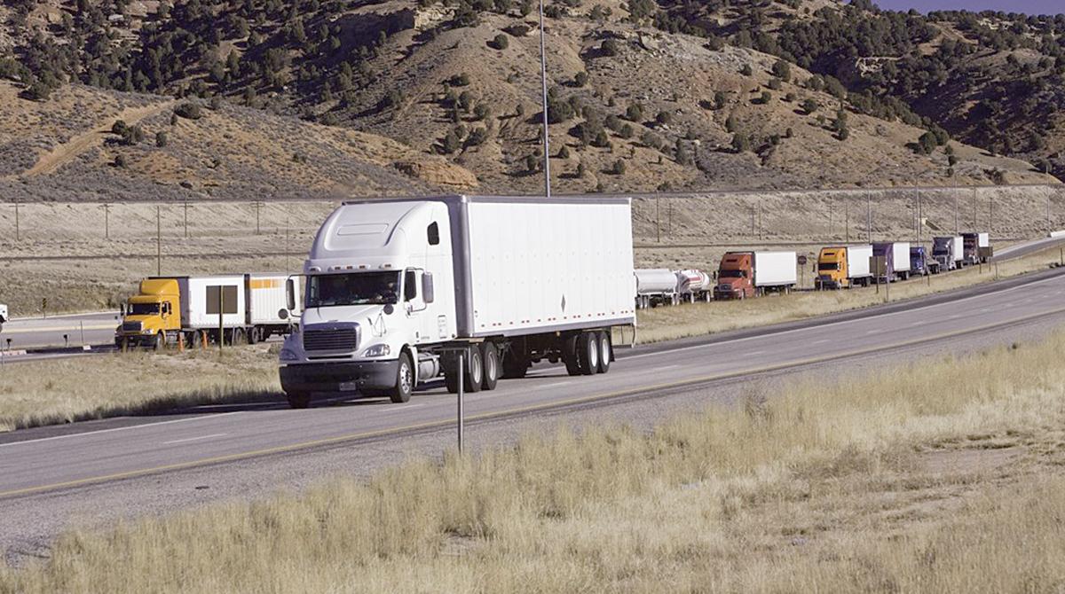 A truck travels through a bypass