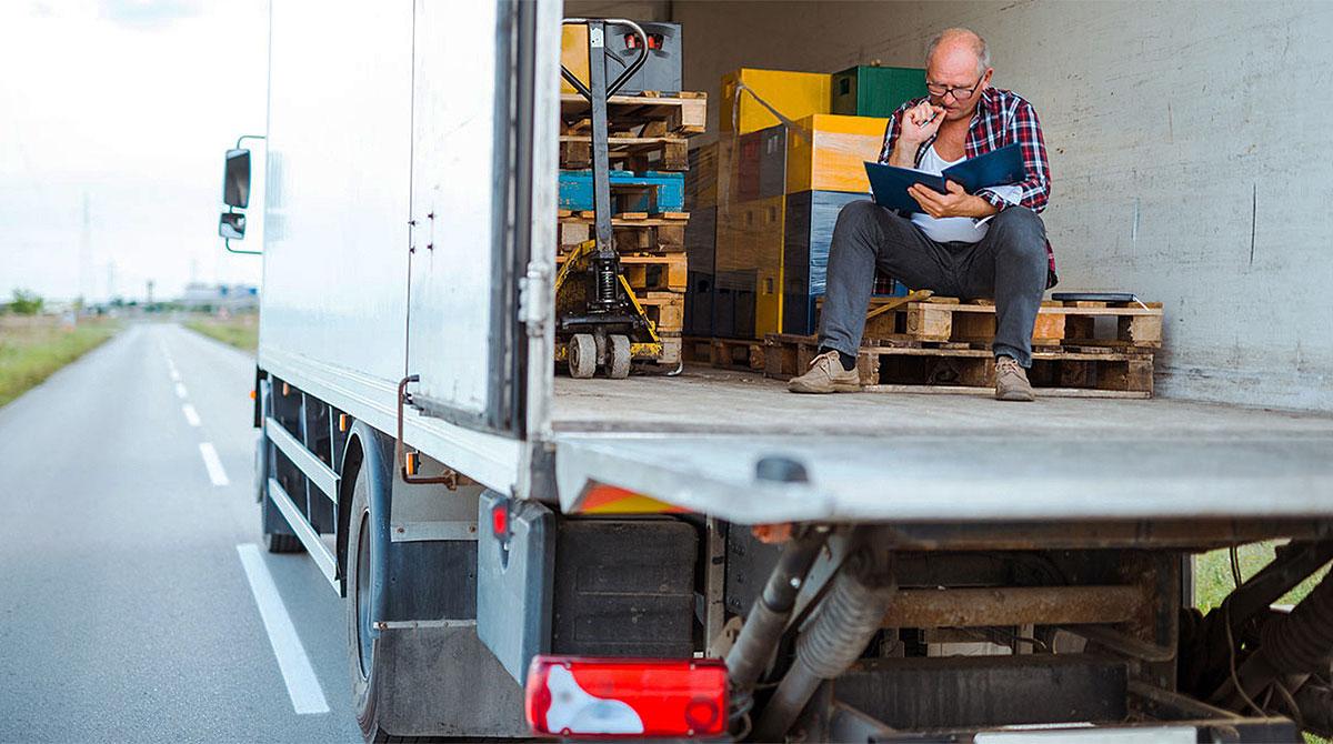 Driver taking a break in trailer
