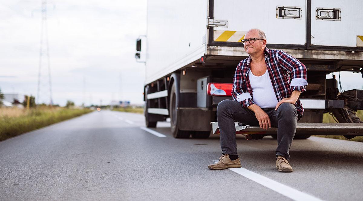 truck driver taking a break