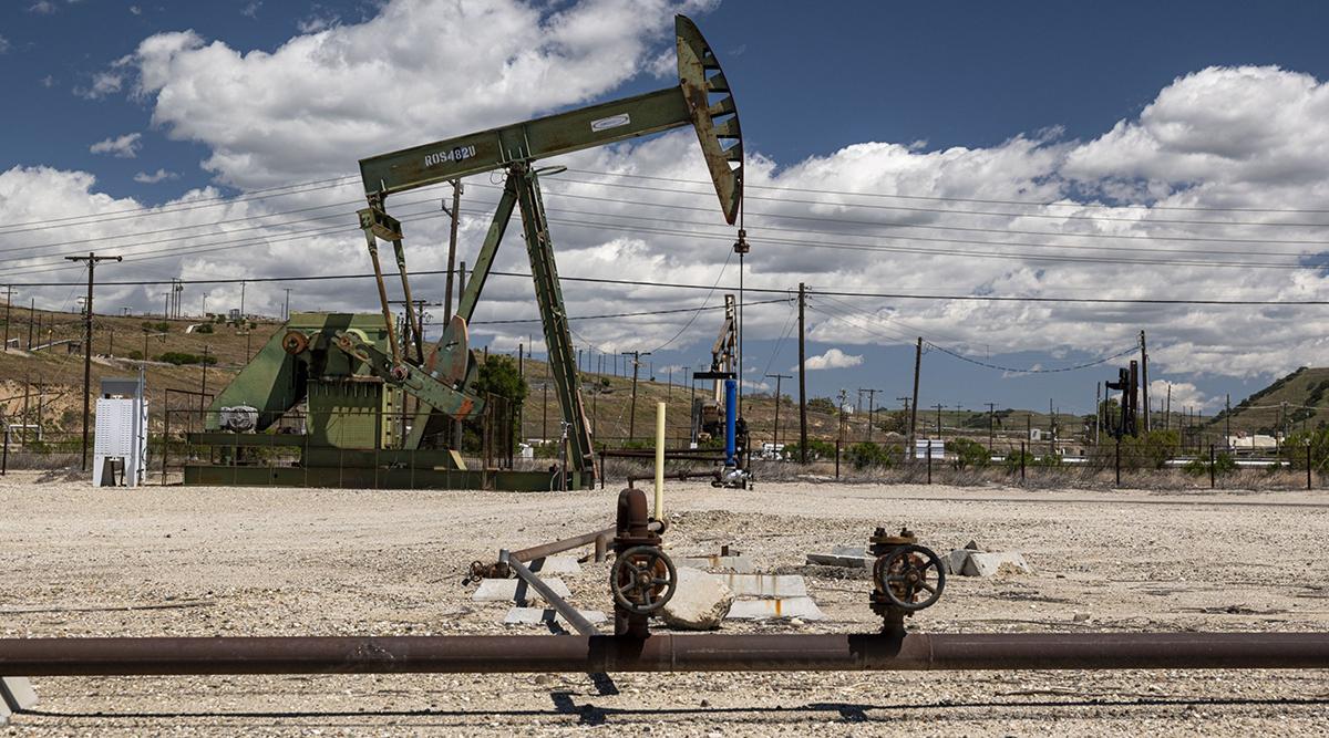 An oil well pump jack