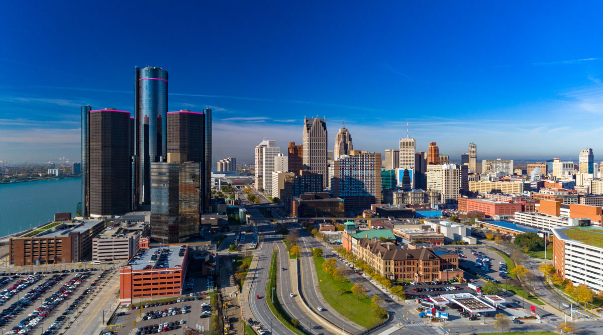 An aerial view of the downtown Detroit skyline.