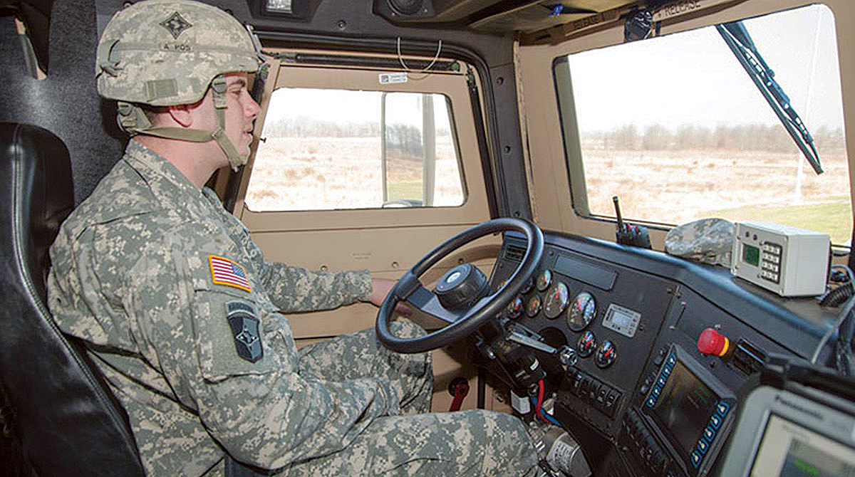 Army driver behind the wheel