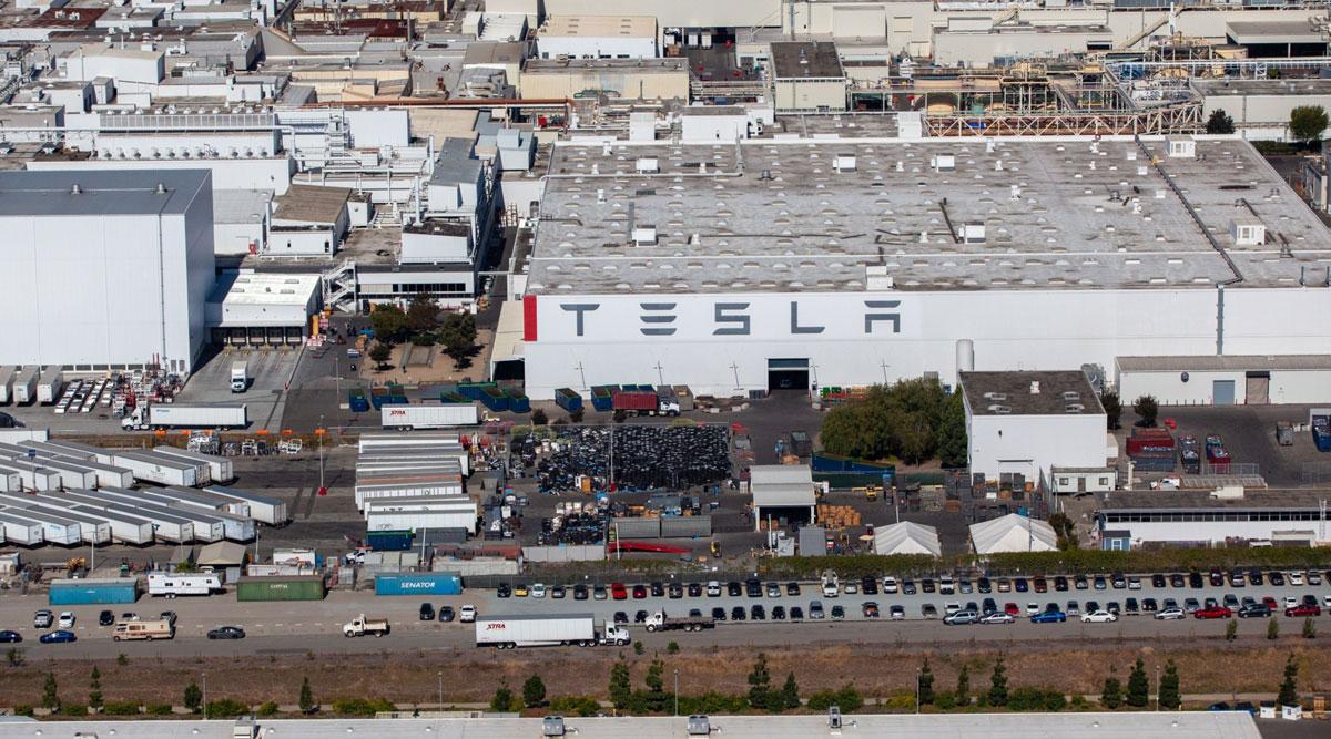The Tesla assembly plant in Fremont, Calif.
