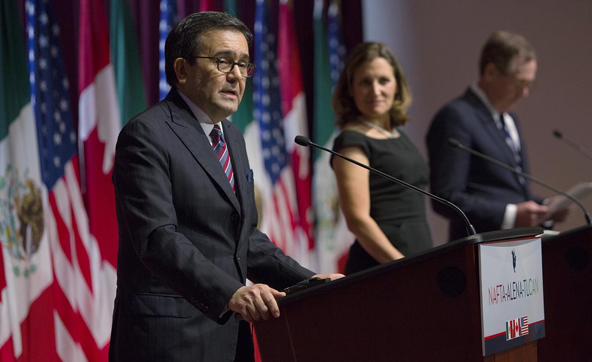 NAFTA negotiators at a press conference
