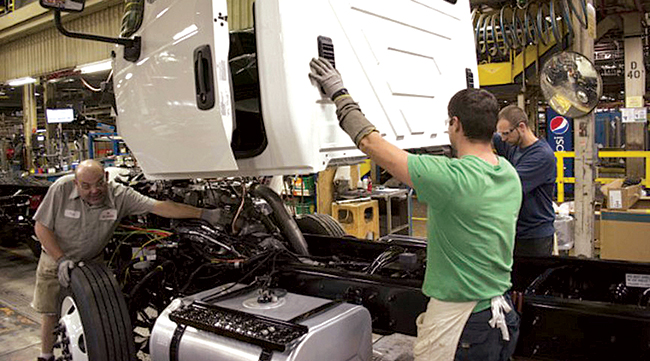 A cab on the assembly line at the Navistar plant in Springfield, Ohio.