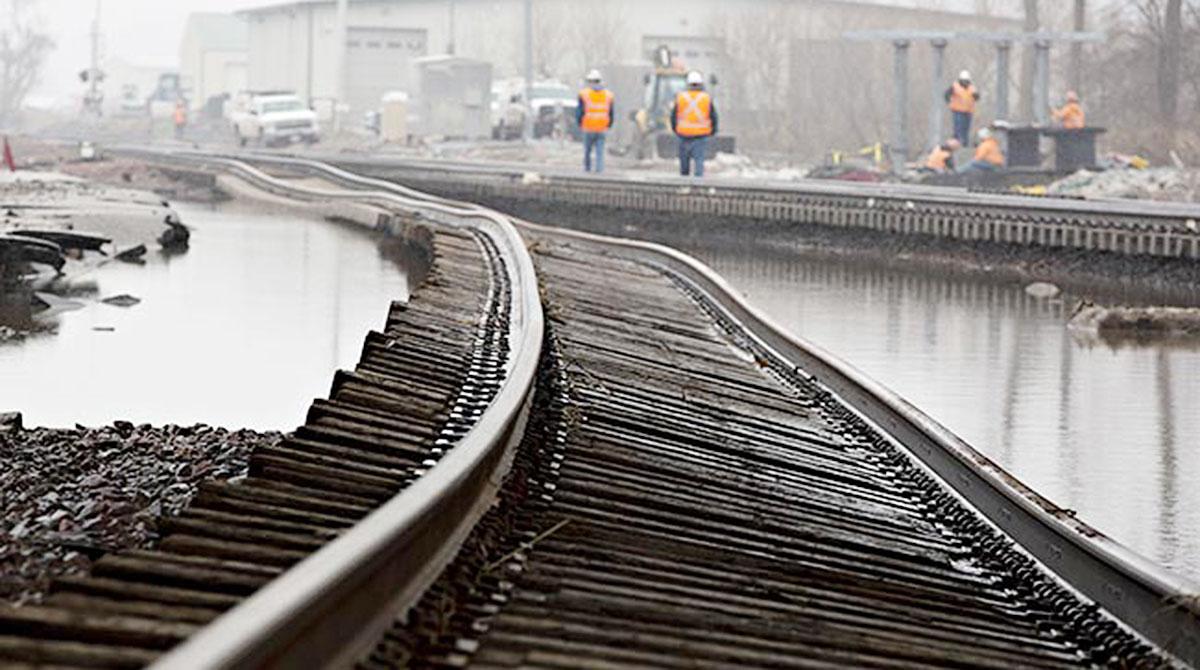 Flooding of BNSF train tracks in Plattsmouth, Neb.