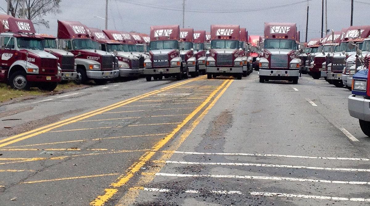 Parked NEMF trucks