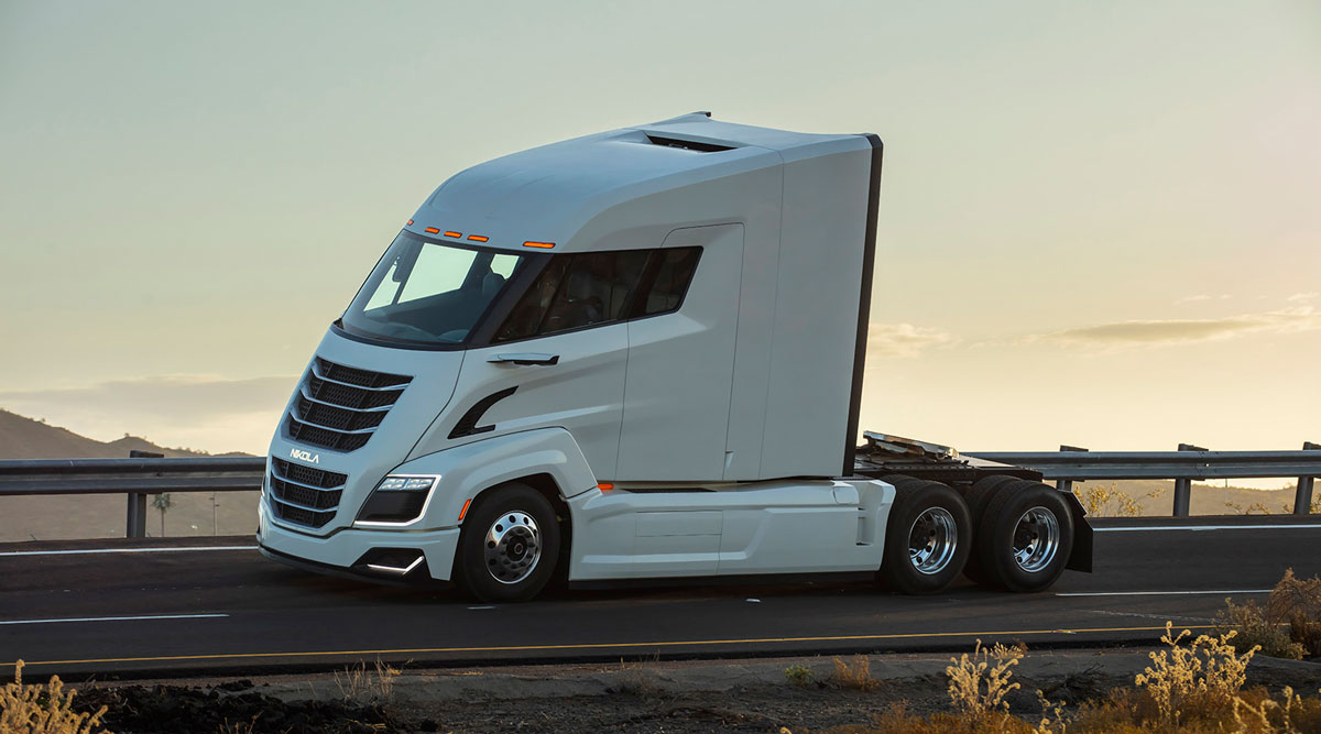 The Nikola Two fuel-cell powered big rig hauler, set for production in 2023.