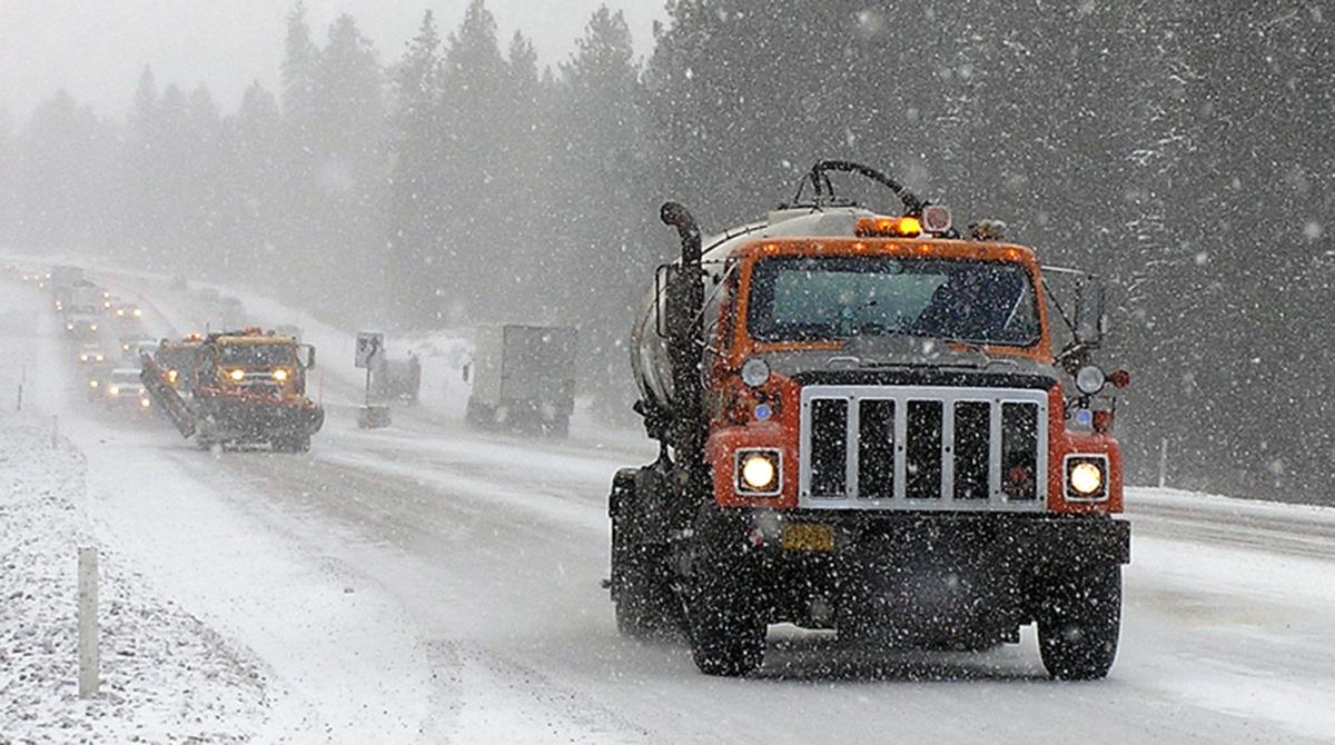 Oregon Department of Transportation de-icing Interstate 97