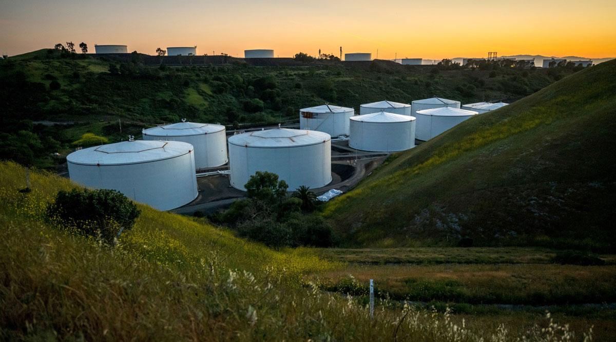 Fuel storage tanks stand in California on April 23. (David Paul Morris/Bloomberg News)