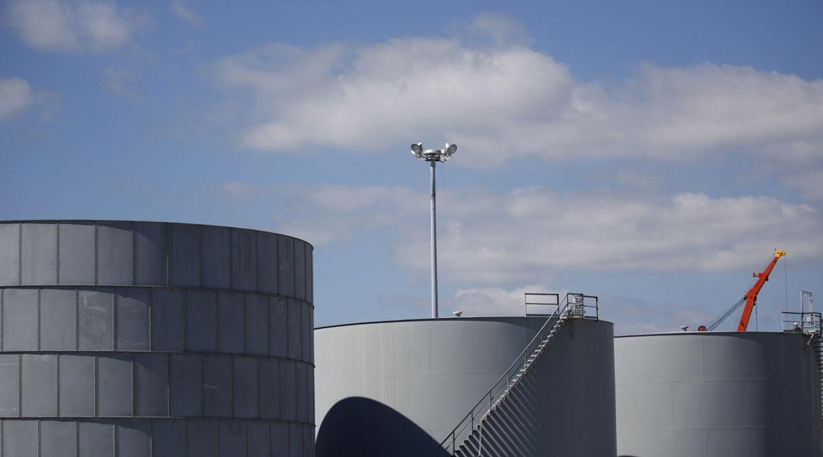 Storage tanks located near a dock in Port Fourchon, La., on June 11.
