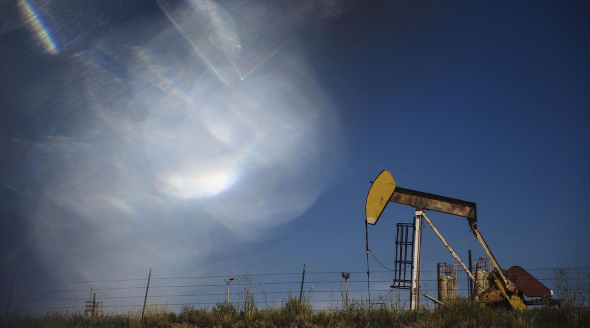 A pump jack operates near Stratford, Texas, on Sept. 26.