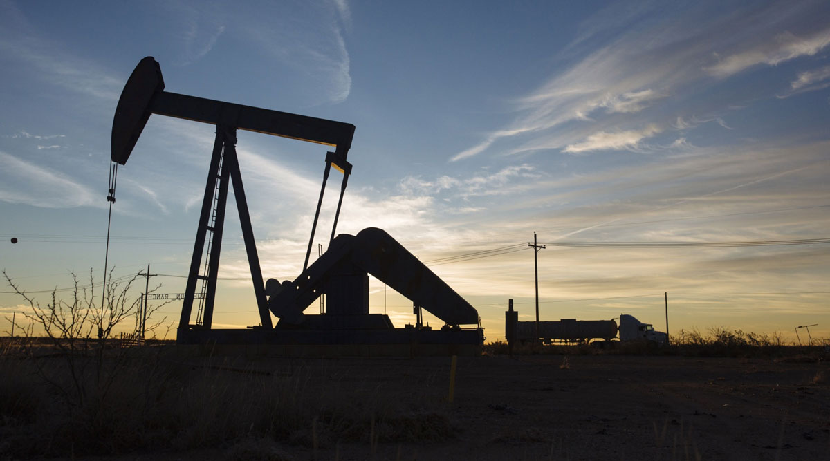 A pump jack in Loving County, Texas, in December 2018.