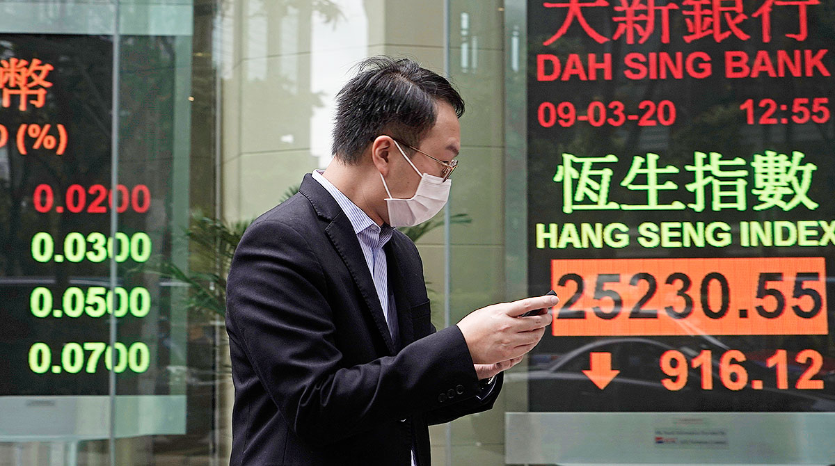 Man in mask in Hong Kong