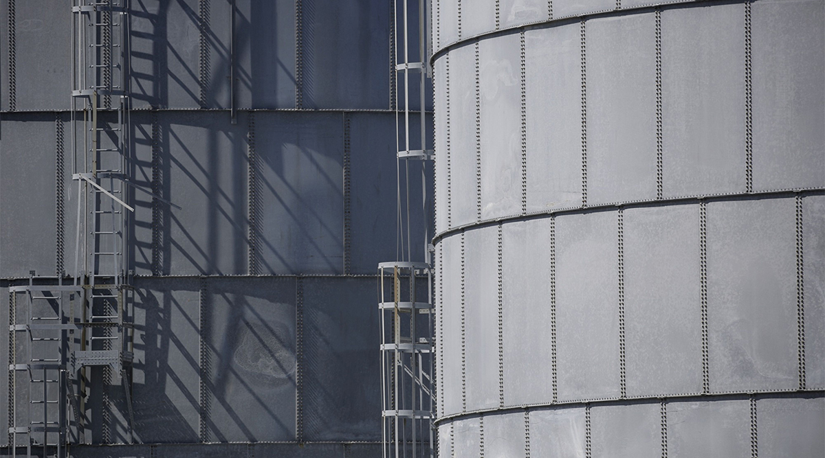 Oil storage tanks in Port Fourchon, La. (Luke Sharrett/Bloomberg News)